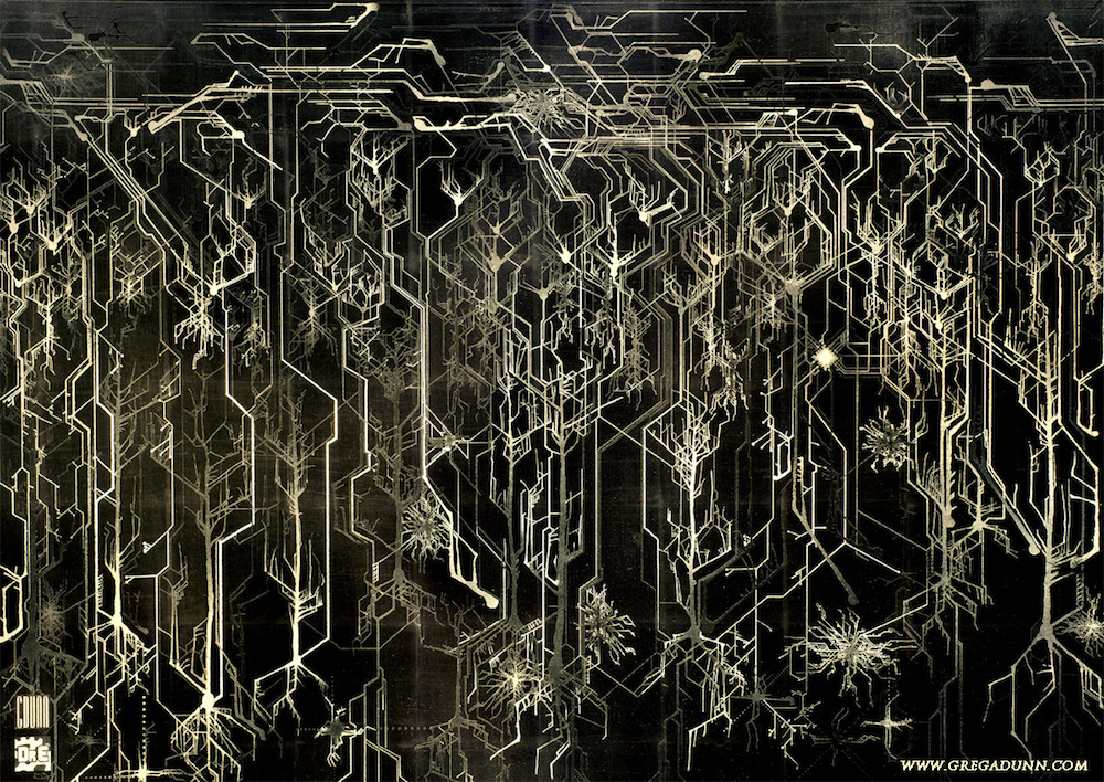 Credit: Greg Dunn and Brian Edwards, Cortical Circuitboard (Microetched gold on steel)